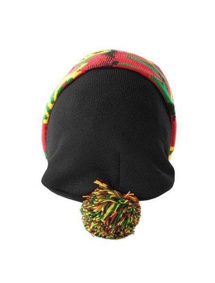 czapka zimowa MASTERDIS - BEANIE POMPON CAMO black rasta