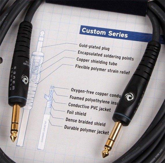 kabel instrumentalny 3,05m PLANET WAVES CUSTOM SERIES jack STEREO prosty/prosty (PW-GS-10)