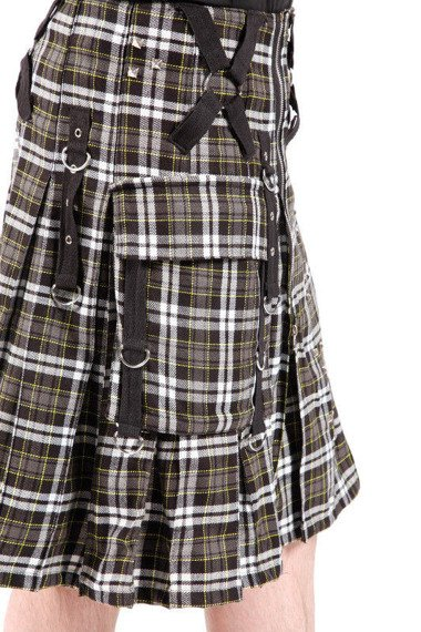 kilt męski DEAD THREADS- BLACK/WHITE TARTAN