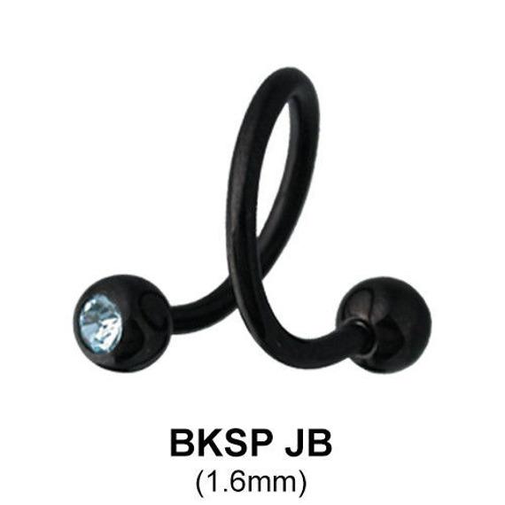 kolczyk do brwi/wargi  BODY SPIRAL BLACK LINE ZIELONE OCZKA 1,6/5mm