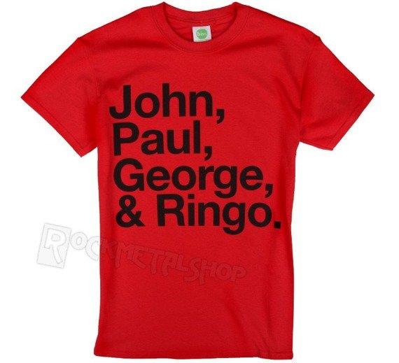 koszulka THE BEATLES - JOHN, PAUL, GEORGE & RINGO czerwona