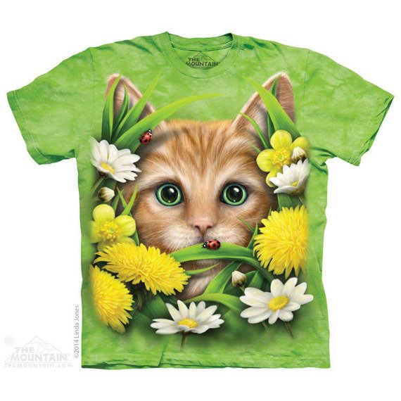 koszulka THE MOUNTAIN - KITTEN IN SPRINGTIME, barwiona