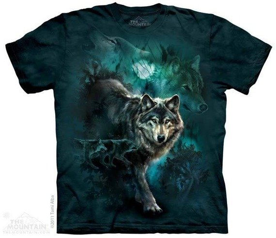 koszulka THE MOUNTAIN - NIGHT WOLVES COLLAGE, barwiona