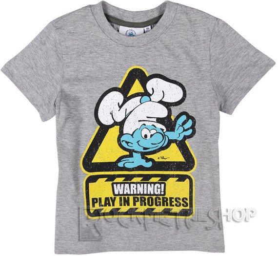koszulka dziecięca SMERFY - WARNING! PLAY IN PROGRESS