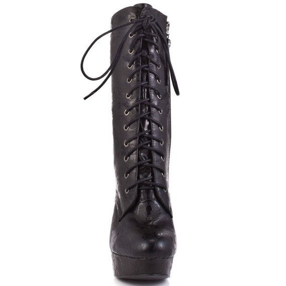 kozaczki  IRON FIST - LACEY DAYS MID CALF LACE UP (BLACK)