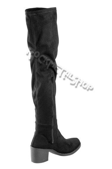 kozaki damskie ALTERCORE czarne zamszowe na obcasie (TANGA BLACK)
