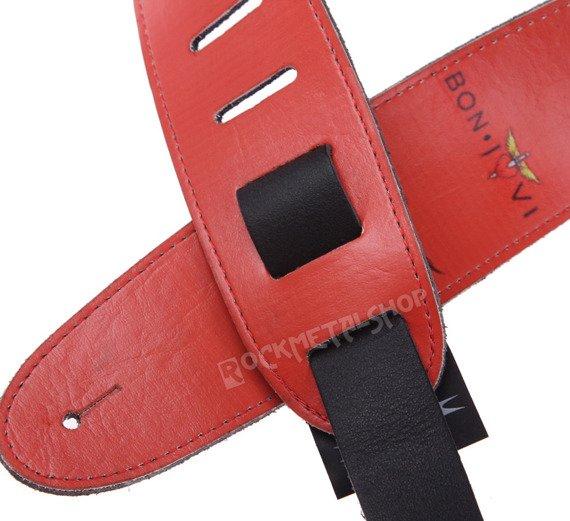 pas do gitary BON JOVI - RED skórzany, 63mm