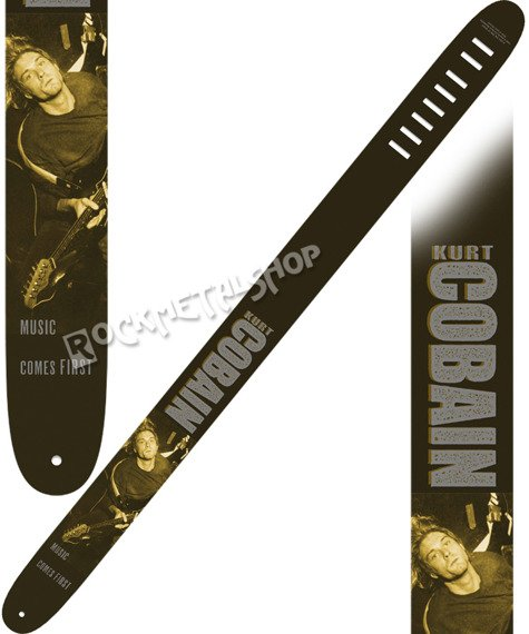 pas do gitary KURT COBAIN - MUSIC COMES FIRST skórzany, 63mm