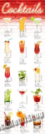 plakat na drzwi COCKTAILS - IN GERMAN
