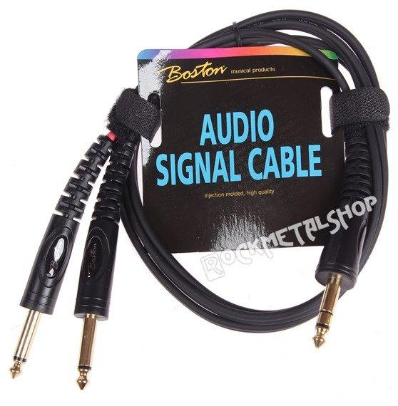 przewód audio BOSTON: 2 x DUŻY JACK MONO (6.3mm) - 1 x JACK STEREO (6,3mm) / 1,5m
