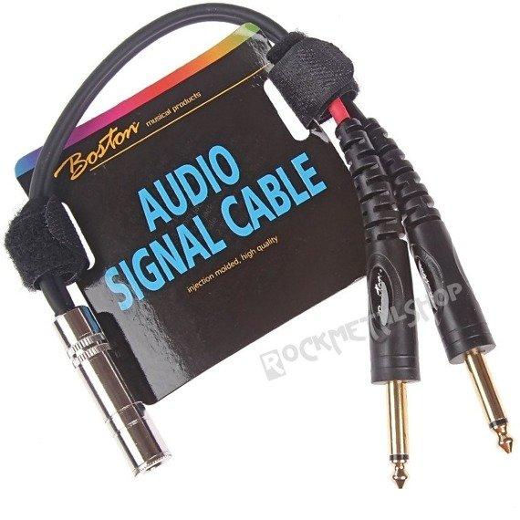 przewód audio BOSTON: 2 x DUŻY JACK MONO (6.3mm) - GNIAZDO DUŻY JACK STEREO (3.5mm) / 30cm
