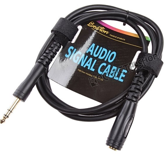 przewód audio BOSTON: JACK STEREO duży żeński -  JACK STEREO duży męski (6.3mm) / 1,5m