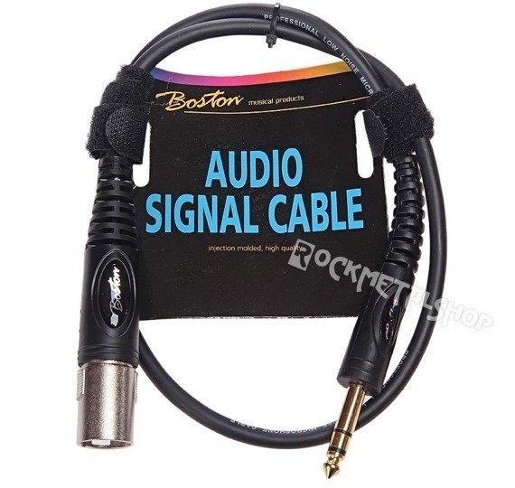 przewód mikrofonowy BOSTON: XLR - duży jack (6.3mm) stereo / 0,75m