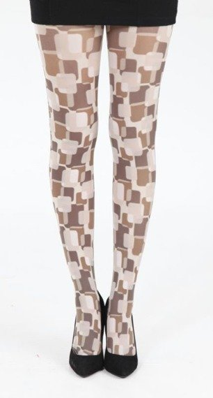 rajstopy Suburb Print Tights - Brown