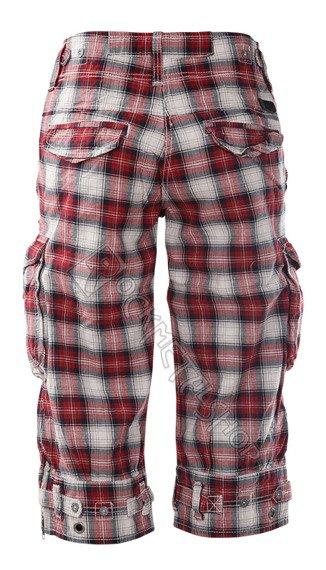 spodnie bojówki damskie VANITY 3/4 czerwono-czarne