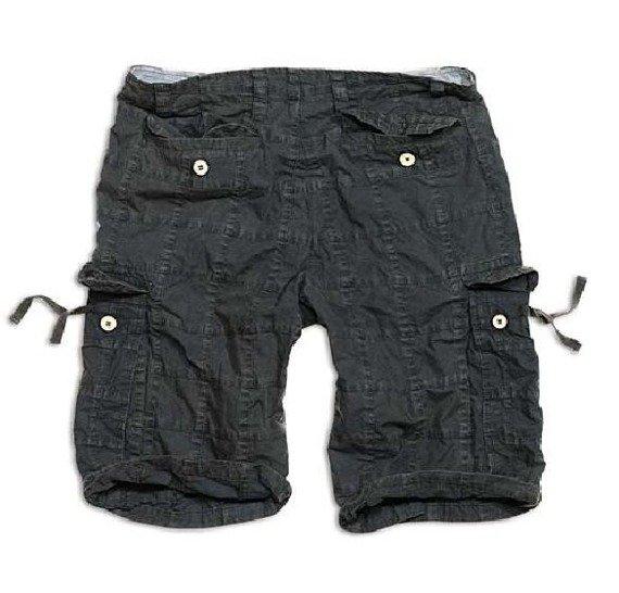 spodnie bojówki krótkie CHECKBOARD SHORTS - black