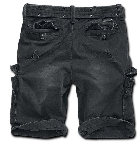 spodnie bojówki krótkie SHELL VALLEY HEAVY VINTAGE - BLACK