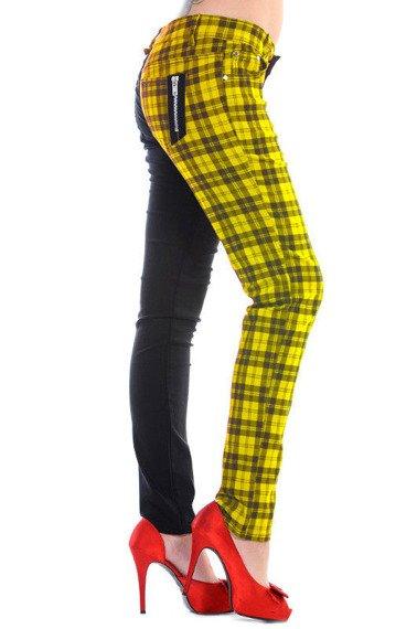 spodnie damskie BANNED - BLACK/YELLOW CHECK