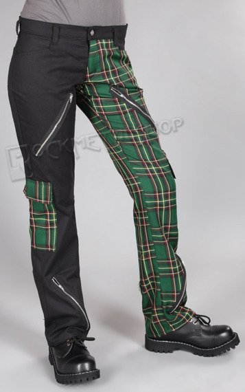 spodnie damskie FREAK PANTS TARTAN BLACK/GREEN