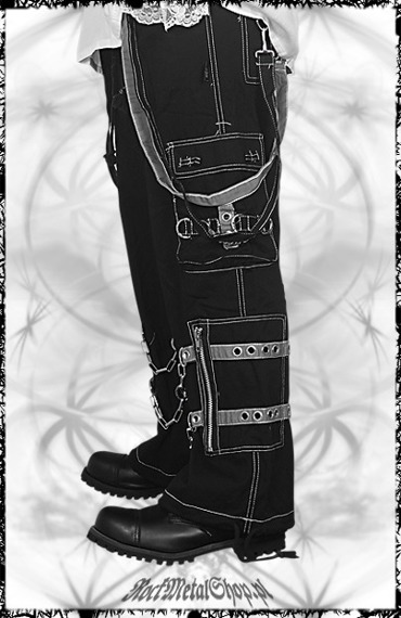 spodnie męskie czarne - CHAIN & BELTS