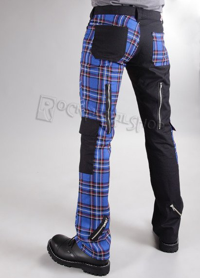 spodnie unisex FREAK PANTS TARTAN BLACK/BLUE