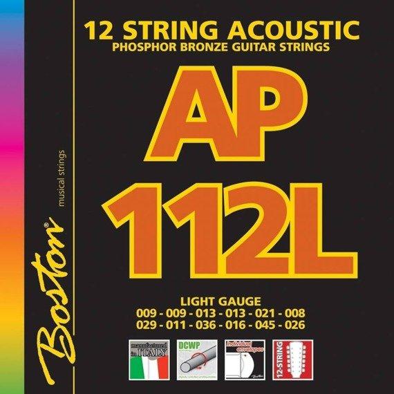 struny do gitary akustycznej 12str. BOSTON AP-112-L PHOSPHOR BROZNE /009-045/