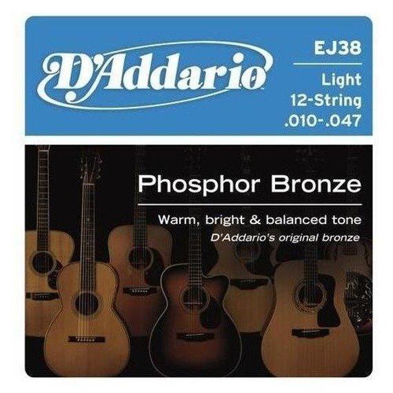 struny do gitary akustycznej 12str. D'ADDARIO EJ38 Light /010-047/