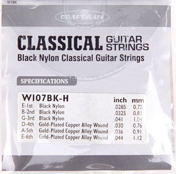 struny do gitary klasycznej CRAFTMAN BLACK NYLON W1BK /0285-044/