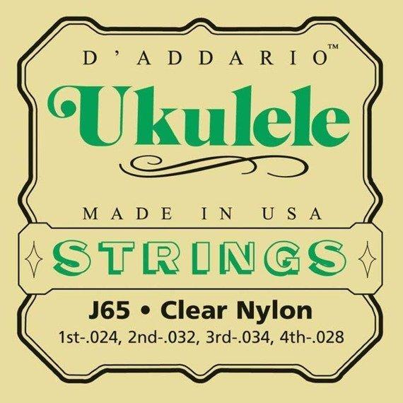 struny do ukulele sopranowego D'ADDARIO J65 CLEAR NYLON /024-034/
