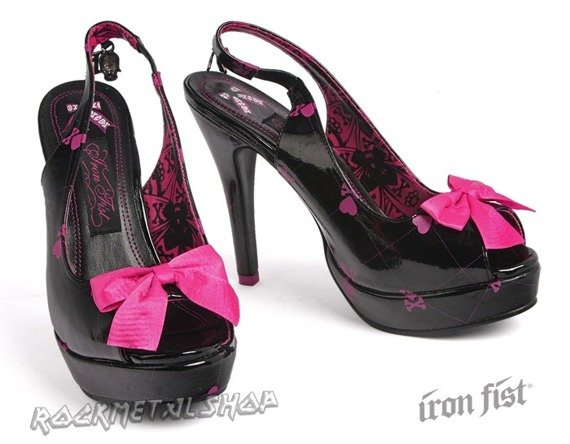 szpilki IRON FIST - BOWS PEEPS (BLACK/PINK)