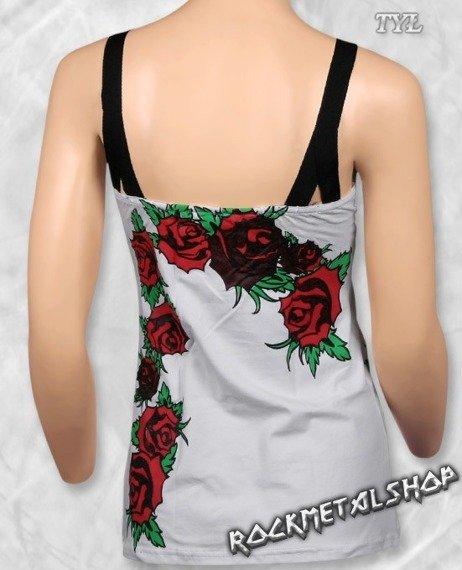 top damski SKULL & ROSES biały