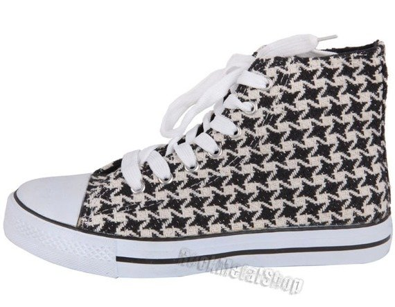 trampki NEW AGE - BLACK/WHITE CHECKER (091123-1)