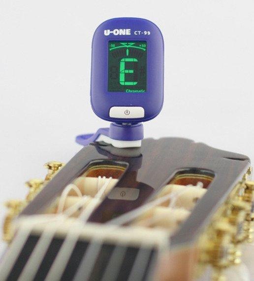 tuner / stroik gitarowy U-ONE uniwersalny, na klips NIEBIESKI