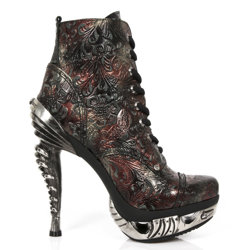buty NEW ROCK  VINTAGE-2 FLOWER ROJO, MAGNETO ACERO [MAG016-S6]