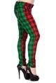 spodnie damskie BANNED - RED/GREEN TARTAN